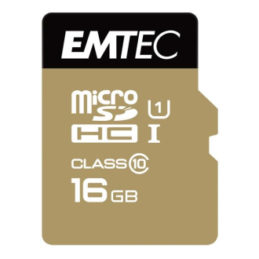 16GB Emtech MicroSDHC CL10 85 MB/s - med adapter