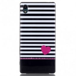 Sony Xperia Z5 TPU Skal Stripes and Pink Heart